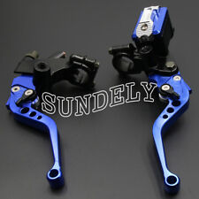 "New Universal Motorcycle Blue Clutch Brake Levers Master Cylinder Reservoir 7/8"""