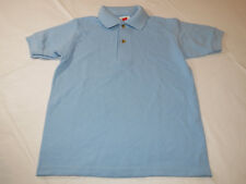 Youth Kids Hanes Stay Clean Polo shirt short sleeve light blue S 6-8 school