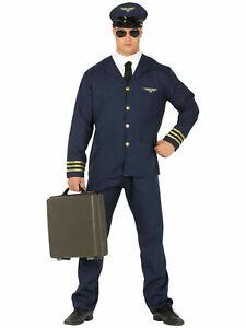 Mens Pilot Costume Fancy Dress Captain Wingman Uniform Captain Aviator Outfit