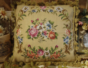 """18"""" Stunning Victorian Petit Point Rose Chic Shabby Hand Crafted Throw Pillow"""