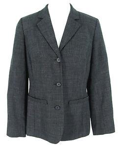Ann Taylor Loft Blazer Sz 8 Jacket Wool Charcoal Gray Black Made USA