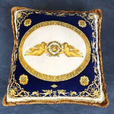 """GIANNI VERSACE velvet fringed pillow Angels with Medusa print 25"""""""