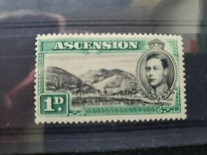 Ascension 1938 1d black and green hinged mint single value