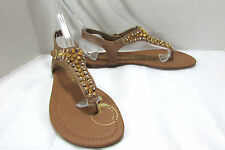 Rampage Beige Jeweled Thong Sandals Size US 9 M
