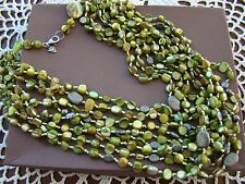 8 Strand Necklace N1814 $119 Silpada Sterling Silver, Green Mop, Pyrite