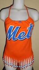 Ladies Reconstructed New York Mets Baseball Shirt Halter Top DiY