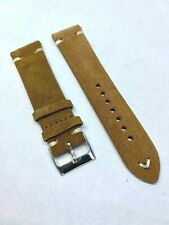 QR - 22mm Brown Handmade Vintage Suede Leather watch band strap Quick Release