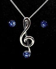 Treble Clef Pendant & Sapphire Crystal Stones Earrings - Music Jewellery Gift