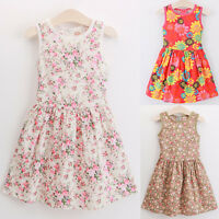 Baby Girls Floral Print Sleeveless Dress Kids Summer Party Dresses Age 2-7 Years