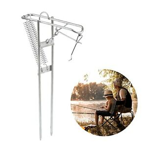 Foldable Automatic Fishing Rod Holder Stainless Steel Pole Rack Ground Support