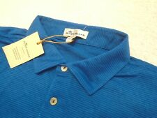 Peter Millar Crown Sport  Plaza Blue Micro-Stripe Polo Golf Shirt NWT Large $94