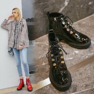 Womens Ladies Fashion Patent Leather Lace Up Zip Combat Biker Boots Shoes BTRE