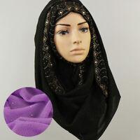 JQ_ KF_ Women Retro Ethnic Rhinestones Hijab Scarf Islamic Muslim Headscarf Wr