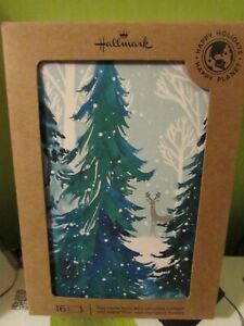 Hallmark Boxed Christmas Cards forest christmas trees(16 Cards and 17 Envelopes)