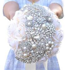 Luxury Rose Bridal Bouquet Crystal Pearls Brooch Silk Wedding Flowers Handmade