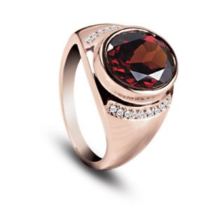 Natural Garnet Gemstone Real Diamond 14K Rose Gold Men's Ring
