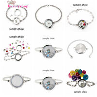 Stainless steel 30mm Living Memory Glass bracelet Locket  fit Floating Charms