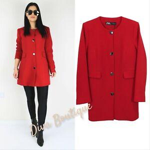 Zara AW 2019/20 Red Buttoned Jacket Blazer Size L Free P&P NEW