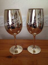 MOET CHANDON GOLDEN GLASS GOBLETS CHAMPAGNE GLASS FLUTES X 2 RARE NEW STYLE