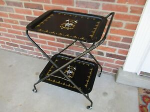 Vintage Two Tier Serving Rolling Cart Metal Trays Black & Gold Coat of Arms EVC