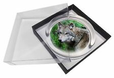 Grey Wolf Glass Paperweight in Gift Box Christmas Present, AW-2PW