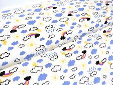 Jersey Farbwechsel Stoff Himmel Wolken Regenbogen weiß blau Jungs Meterw. 24194