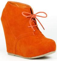 Rust Orange Lace Up High Heel Platform Wedge Ankle Bootie Boot Bamboo Debrah-01N