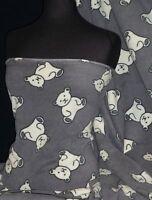 Polar Fleece- Anti Pill Fabric Teddy Bear Grey PPFL45 GR