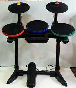 Nintendo Wii Guitar Hero World Tour Bundle- Drum set, 2 Guitars & 2 Games TESTED