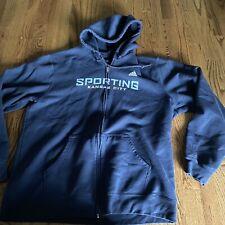 ADIDAS SPORTING KC Kansas City Soccer Pullover Hoodie Sweatshirt Blue Mens XL