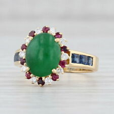 Jadeite Jade Diamond Ruby Halo Sapphire Ring 18k Yellow Gold Size 7