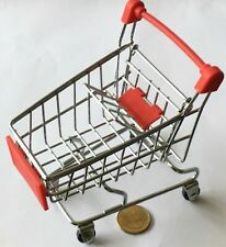 Metal & Red Plastic Shopping Trolley Cart With A Baby Seat Tumdee Dolls House