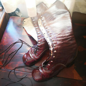Vintage Cameo Room Brown Patent Lace Up Knee High Boots size 2?