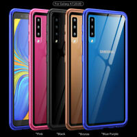 Metal Frame+Tempered Glass Back Magnetic Case Cover for Samsung Galaxy A7 (2018)