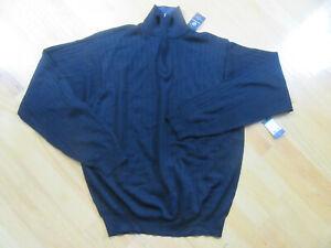NWT CEZANI Pullover Sweater 3/4 Zip up Mens Black Size XXL