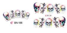Nail Art Water Decals Full Wraps Halloween Skulls Gothic Flowers Gel Polish 188