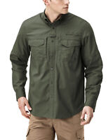 CQR Men's Long Sleeve Work Shirts, Outdoor Ripstop Military Tactical Shirts,