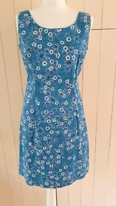 MONSOON VINTAGE BLUE FLORAL COTTON SHIFT SUMMER PARTY HOLIDAY dress 12 40 NEW