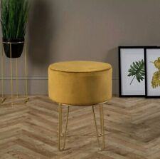 Ports of Call: Jeff Banks Soft Velvet Footstool Mustard Luxury Living Room Chair