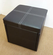 Ottoman Pouffe Storage Single Seat Foot Stool Toy Box Faux Leather 41x41cm Brown