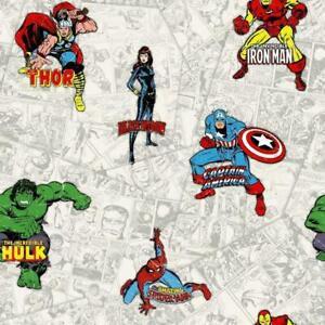 Marvel Avengers Wallpaper Multi Coloured Hulk Thor Ironman Comic Strip Kids Room