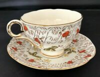 Vintage Melba Bone China Coffee Cup And Saucer Orange Yellow Flowers