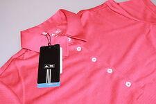 Señoras Adidas Climacool Tech S/s Camisa de polo Golf Punch Rojo/blanco logotipo Nuevo Med 12