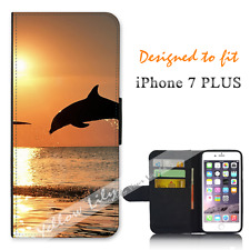 For Apple iPhone 7 PLUS Wallet Flip Phone Case Cover Dolphin Jump Y00814
