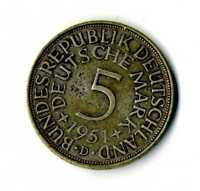 Moneda Alemania 1951 D 5 marcos plata .625 silver coin Deutsche Marck