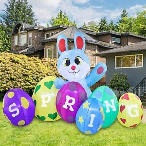 8 FT LONG EASTER BUNNY W/ EGG PATCH AIRBLOWN INFLATABLE LED LIGHTED YARD DECOR