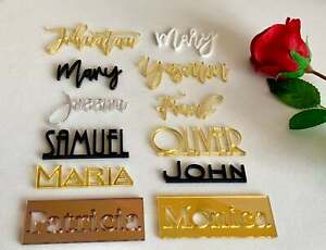 Personalized Wedding Acrylic Wood Laser Cut Guest Name Tags Place Cards New Font