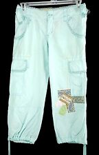 Miss Me Jeans Cargo Capri Pants Size S Aqua Blue Pastel Patchwork Drawstring Hem