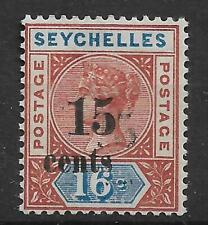 SEYCHELLES 1893 15C ON 16C RARE SURCHARGE DOUBLE ERROR VERY FINE UNMOUNTED MINT