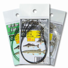 Trace Wire Leader 22cm 10'' 10kg 22lb Coated Pike Perch Sea Fishing Tackle